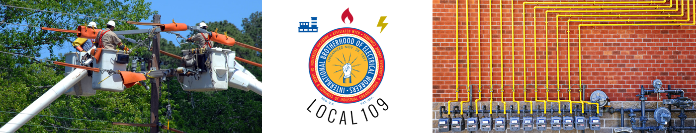 Images of electricians working on power lines, the IBEW Local 109 logo, and an array of electric meter boxes
